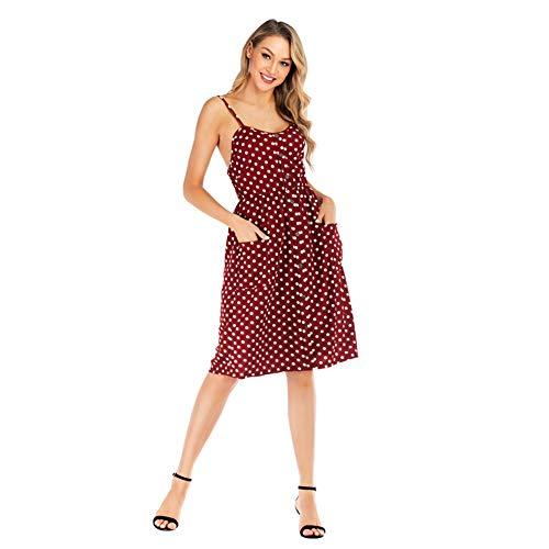 YYH Damesjurk, bloemenprint Boheemse maxi-jurk party-jurk casual flowy zomerjurk strandjurk Small rood