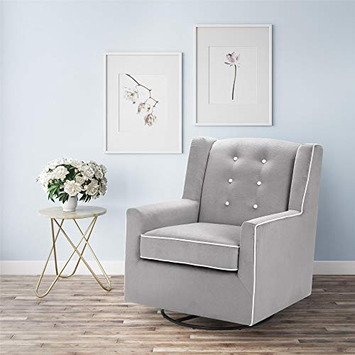 Baby Relax Emmett Button Tufted Upholstered Swivel Glider, Graphite Gray