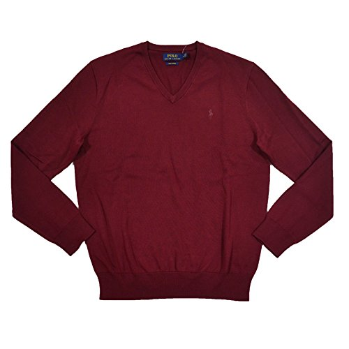 Polo Ralph Lauren Mens Pima Cotton V-Neck Sweater (X-Large, Red)