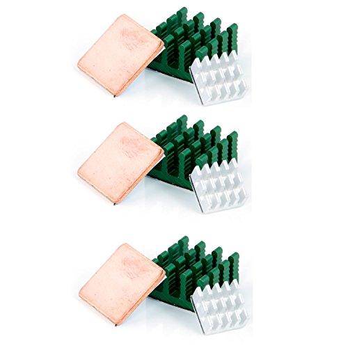 Aukru Aluminium-Kühlkörper für RaspBeere Pi 3 Modell B +, 3 B, Pi 2 Modell B / Pi B (12 Stück) 3x 3-er Set Kühlkörper Aluminium Kupfer +