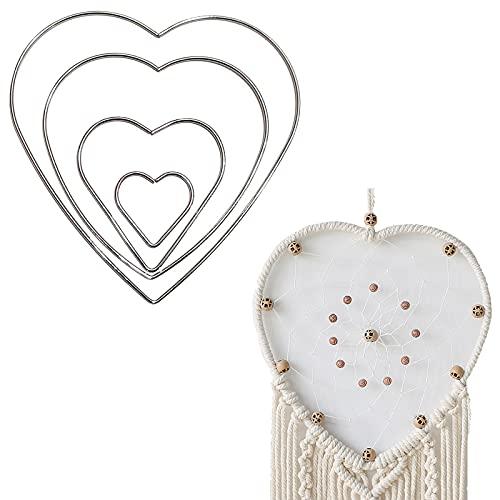 Anelli di metallo Cerchi fai da te acchiappasogni a forma di cuore Macrame Cerchi Anelli 4 pcs Ghirlanda Decorazioni matrimoni corona di Anelli metallo Ghirlanda fai da te Decorazioni matrimoni