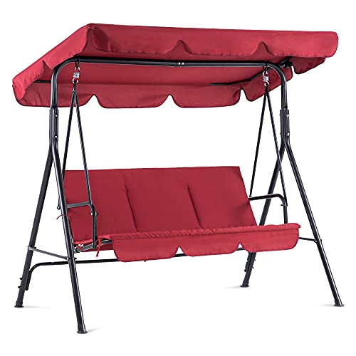 Mcombo 3-Person Outdoor Patio Swing Chair, Convertible Canopy Hanging Swing Glider Lounge Chair, Removable Cushions, 4003 (Red)