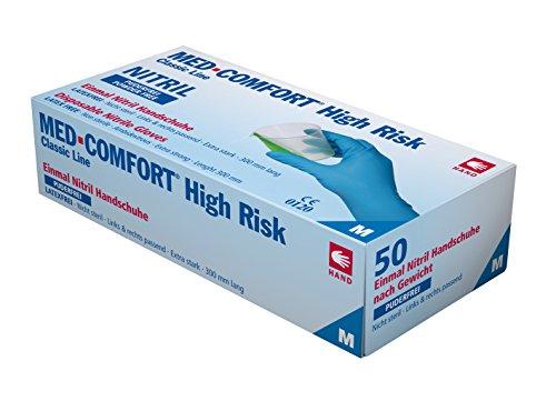 Einmalhandschuhe aus Nitril Ampri High Risk blau XL Gr.10, Chemikalienschutzhandschuh, Stärke 0,21 mm, blau, 50 Stück