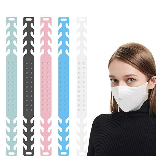 Maske Ohrhaken, 15 Stück Maskenhaken Anti-rutsch Silikon Masken Ohrband Gummiband Verlängerungsriemen für Ohrschutz 4 Gang Einstellbare Haken Ohrenriemen für Erwachsene und Kinder