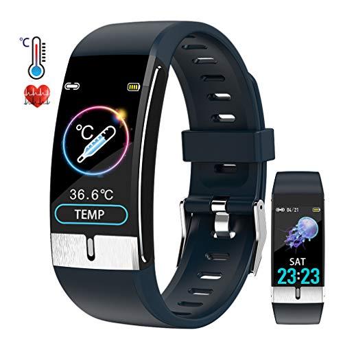 Pulsera de Actividad inteligente IP68 con medición de temperatura corporal para hombres y mujeres, con WhatsApp de Facebook y otra notificación de información de la aplicación Función de contador de podómetro del monitor de frecuencia cardíaca, adecuada para Android e iOS