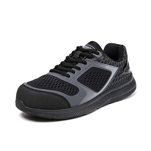 PAMRAY Zapatos de Seguridad Hombres Trabajo con Puntera de Acero Ligeros Zapatillas de Trabajo Negro 43