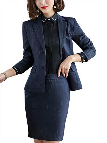 SUSIELADY Elegante Conjunto de Tres Piezas para Mujer, Pantalones Blazer, Falda, Chaleco, Traje de Trabajo, Oficina de Negocios, Blue-tq, L