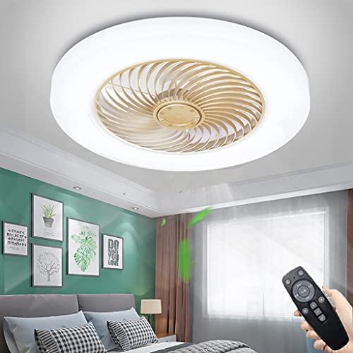 Ventilador De Techo LED Con Lámparas, Moderno Ventilador Invisible Luz De Techo 3 Velocidades Regulable Dormitorio Lámpara De Techo Pantalla De Acrílico Sala De Estar Ventilador Luz De Techo (Gold)