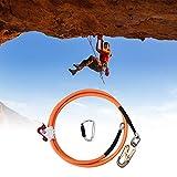 TOPQSC Cuerda de Seguridad con Núcleo Acero 16mm*3.6m Kits Seguridad con Núcleo de Alambre Equipo Cuerda de Escalada Al Aire Libre Triple Lock Mosquetón Ajustador para Escaladores de Protección