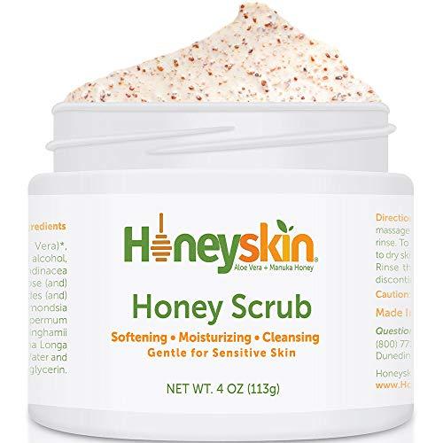 Skin Exfoliator Scrub - Exfoliating Face Microdermabrasion - Exfoliante Facial Scrub and - Manuka Honey Cleanser - Blackhead Scrub Face Mask - Organic Skin Cleanser - Bamboo and Jojoba Seed (4oz)