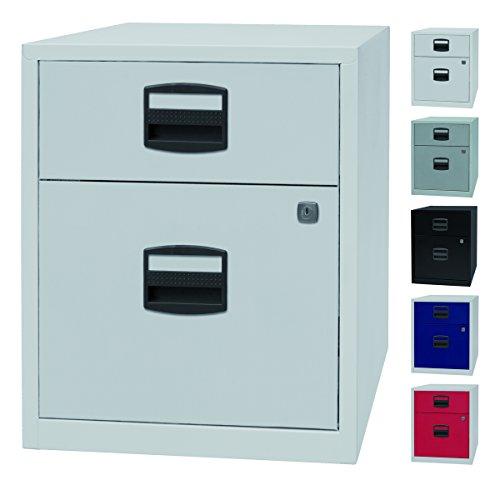 PFA bijzetkast, mobiel kantoor, ladekast op wieltjes met 2 metalen laden, afsluitbaar, 5 kleuren lichtgrijs