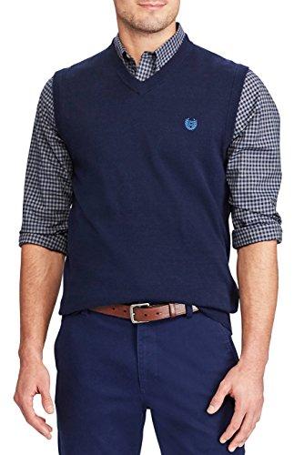Chaps Men's Big & Tall Kent Pull-Over Sweater Vest (Dark Navy, X-Large Tall)