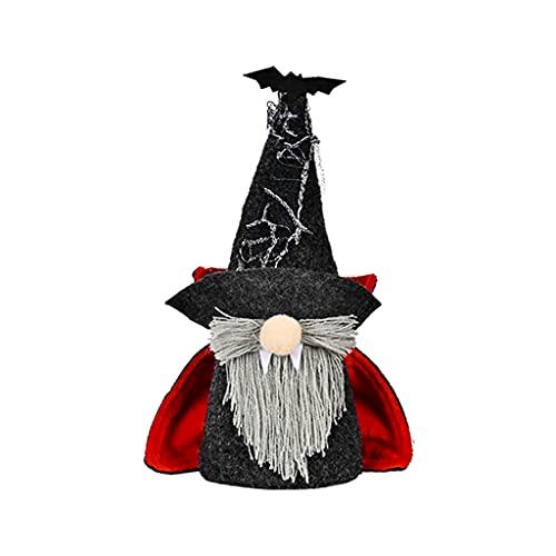 ShiftX4 Gnomos de Halloween, gnomo mago adornos de escritorio lindo elfo suave muñeca hogar escritorio artesanía dormitorio decoración sala dormitorio decoración