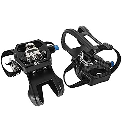 DULMYY Bike Pedal 9/16'' SPD Pedals Hybrid Pedal with Toe Clips and Straps Suitable for Spin Bike, Exercise Bikes and All Indoor Bike Compatible with Peloton Bike Pedal Toe Clips Cage