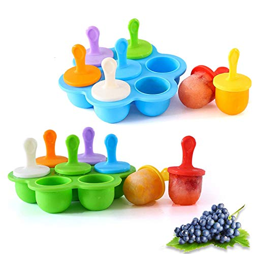 Silicone Popsicle Molds, Food Grade DIY Ice Pop Molds,Colorful Ice Cream Mold Ice Lolly, 7-Hole Popsicle Mold for Kids Food Freezer Trays Ice Pop Maker with Silicone Spoon (Blue+Green)