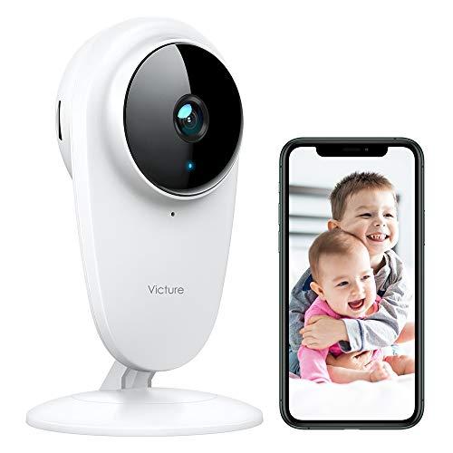 Victure 1080P Cámara de Vigilancia 2.4G Wi-Fi Interior Vigilabebés con Cámara Monitores de Bebé Detección de Sonido y Movimiento la Visión Nocturna Funciona con Alexa