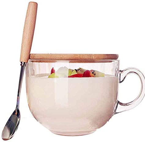 TAMUME 470ml Microwavable Glass Cup with Wooden Lid, Includes a Spoon with Wooden Handle,Glass Coffee Cup and Tea Mug (Wood Lid and Spoon, 470ml)