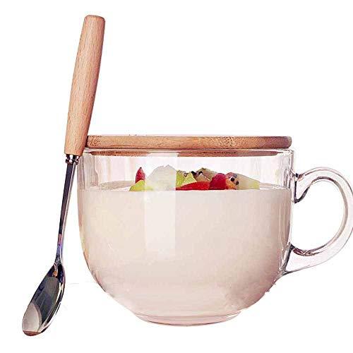 TAMUME 470ml Copa de Cristal para Microondas con Tapa de Madera, Incluye una Cuchara con Mango de Madera, Taza de Café de Cristal y taza de té