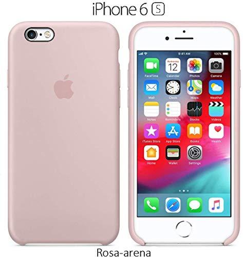 Funda Silicona para iPhone 6 y 6s Silicone Case, Textura Suave, Forro Interno Microfibra (Rosa-Arena)