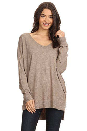 A+D Womens Oversized Extra Soft V-Neck Pullover Sweater Long Sleeved Sweater Top with Hi-Low (Mocha, Medium/Large)