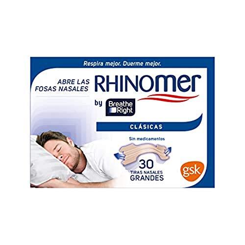 Rhinomer by Breathe Right - Tiras nasales clásicas para la congestión nasal, tamaño grande - 30 tiras