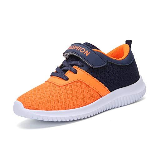 Minbei Unisex Kinder Hallenschuhe Jungen Sneakers Atmungsaktive Sportschuhe Laufschuhe Mädchen Leichte Turnschuhe Orange 32 EU