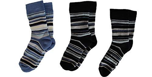 socksPur SOCKS PUR Thermo-Ringel-Computer- VOLLFROTTEE Kindersöckchen 3er BÜNDEL (31-34, marine-marine-blau)