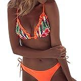 Bikini Traje de baño para Mujer Sswimswear de Dos Piezas Sujetadores Rellenos Traje de baño Ropa de Playa Liquidación(Naranja,M)