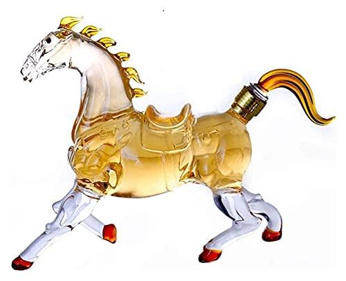 JIUYUE Decantador de Whisky Decantador de Vino Decantador de Caballos, Decantador de Whisky, Artesanía Botella de Vino Caballo Copa de Vino Botella de Vino Forma Animal Alto Boron Vidrio Licorera