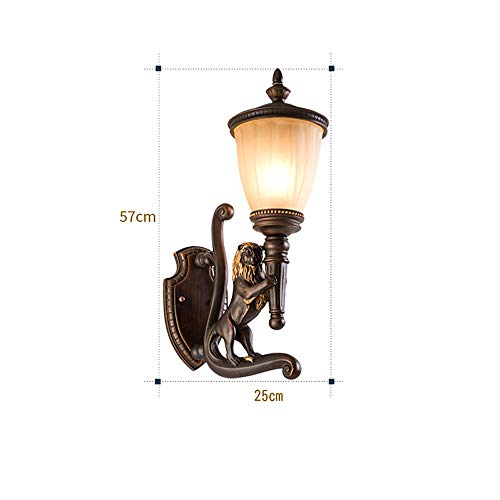 Vinteen Wasserdichte Wandleuchte Im freien Wandleuchte Wandlampen Außen Europäische Villa Garten Beleuchtung Tür Harz Sphinx Lion Lichter Balkon Außenwand Laterne (Color : Right)