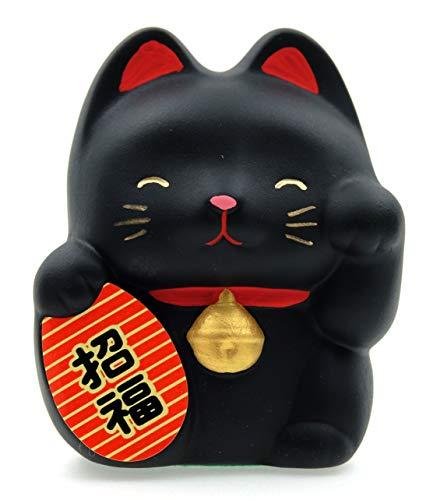 GOTO Maneki Neko Feng Shui Lucky Cat - Negro para la suerte 6,7 cm