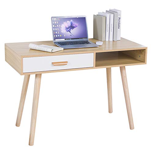 Escritorio de Oficina, Mesa para Ordenador, 110 * 50 * 75cm, Tablero de partículas + Patas de Madera Maciza, con cajón