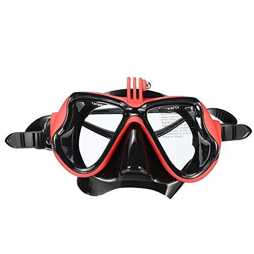 ZKDY Profesional Cámara Submarina Mascara De Buceo Scuba Snorkel Natacion Antiparras Lentes para Camara De Deportes De Equipo De Buceo,Rojo