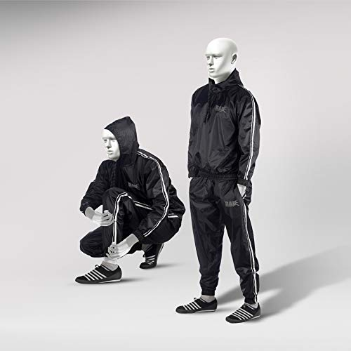 RAD Sauna Suit Men, Women Weight Loss Jacket Pant Gym Workout Sweat Suits with Hood (White, Large)