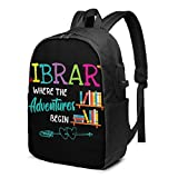 CHENWE Library Books Trendy Travel USB Backpack,17 Inch Computer Business Backpacks Student Backpack Casual Hiking Daypack