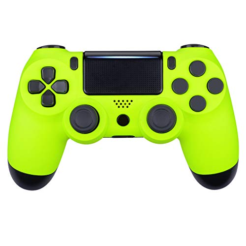 eXtremeRate Lime Yellow Soft Touch Grip Front Housing Shell Faceplate Cover for Playstation 4 PS4 Slim PS4 Pro Game Controller (CUH-ZCT2 JDM-040 JDM-050 JDM-055) - Controller NOT Included