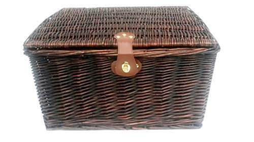 topfurnishing Strong Brown Oak Wicker Picnic Gift Storage Xmas Christmas Empty Hamper Basket[Brown,Medium 35 x 28 x 18 cm]