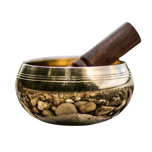 Handgefertigte, tibetische Klangschale aus Nepal, inklusiv Holz-/Lederklöppel (Meditation, Yoga, Klangtherapie) | auch für Kinder, Lehrer, Trainer