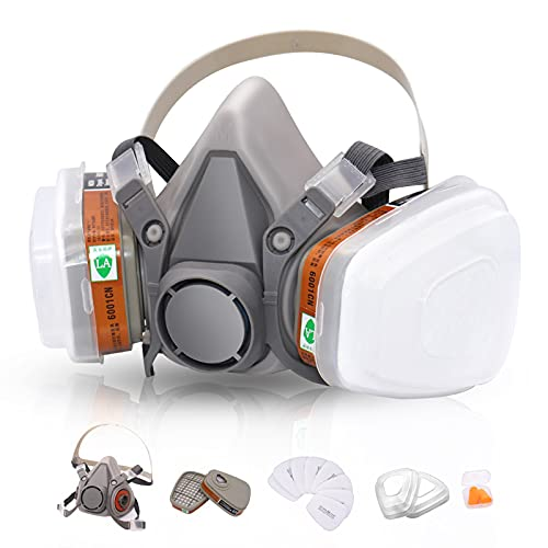 Reusable Respirators Half Facepiece Cover - ANUNU Paint Respirator with Filters Against Dust Organic Vapors Gas Sawdust For Paint Epoxy Resin Welding Chemical Woodworking