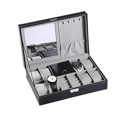 WZL Organizador de relojes de cuero sintético de la marca Protable caja de almacenamiento para joyas, pendientes, anillos, collar
