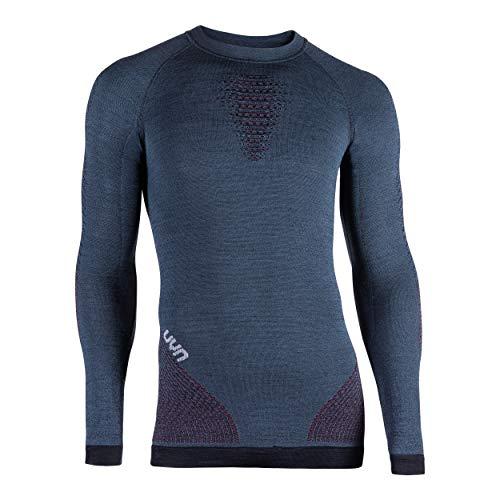 UYN Fusyon Underwear, Maglia Intima Termica Lana Merino Uomo, Orion Blue/Bordeaux/Pearl Grey, L/XL