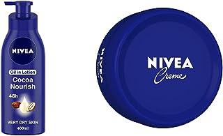 NIVEA Body Lotion for Very Dry Skin, Cocoa Nourish, with Coconut Oil & Cocoa Butter, For Men & Women, 400 ml & NIVEA Crem...