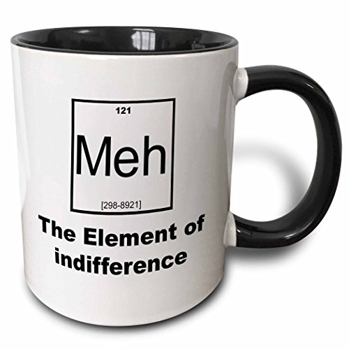 3dRose Meh - The Element Of Indifference Two Tone Mug, 11 oz, Black