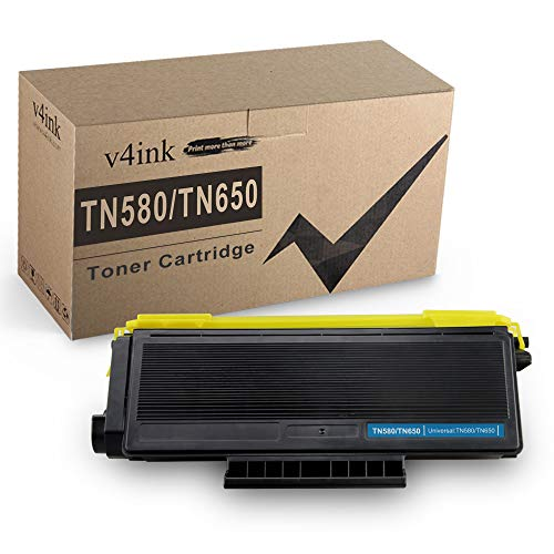 V4INK Compatible TN 580 TN 650 Toner Cartridge Replacement for Brother TN650 TN580 for Brother HL-5370DW 5340D 5250DN 5240 MFC-8480DN 8890DW 8460N 8690DW 8680DN 8660DN DCP-8060 8080DN (Black 1 Pack)