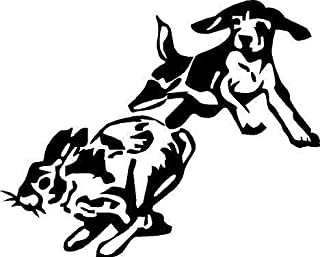 Black Vinyl Decal - Beagle Chase Rabbit Dog Puppy Hunting Hunt Sticker Fun, Die Cut Decal Bumper Sticker for Windows, Cars, Trucks, Laptops, Etc.