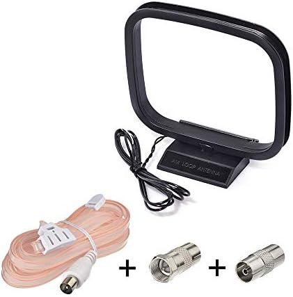 Bingfu Antena Radio Dab FM Digital 75 Ohm Antena Cable en Forma T con Macho TV, Antena Am Cuadro con 2 Cables Desnudos para Sintonizador Receptor de ...