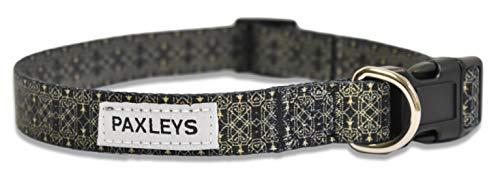 paxleys Luxus Verstellbar Schwarz und Gold Muster Hunde Halsband Größen Medium und Large (mittel)