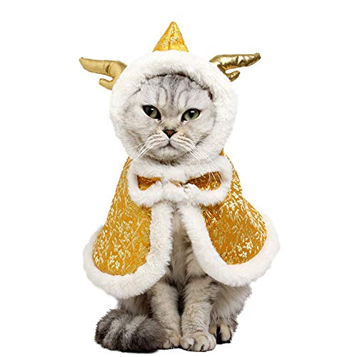 NACOCO Cat Dragon Horn Cloak Chinese Style Pet Winter Mantle Small Dog Kitten Warm Wear Poncho Christmas Spring Festival Rabbit Cape Clothes (Golden)