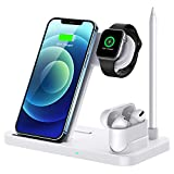 Wireless Charger, 4 in 1 Qi-Certified Fast Charging Station Compatible Apple...