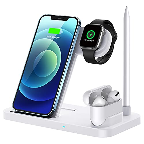 QI-EU Wireless Charger, 4 in 1 Fast Wireless Charging Station...